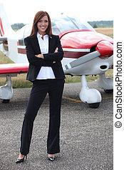 posición, frente, avión, mujer, joven