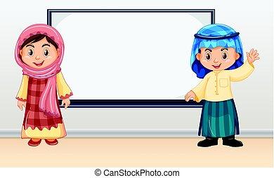 posición, frente, niños, irag, whiteboard