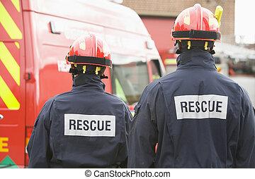 posición, fuego, bomberos, motor, pequeño
