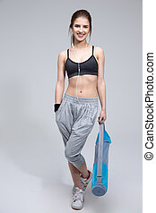 posición, gris, lleno, deportivo, encima, alegre, longitud, mujer, plano de fondo, retrato