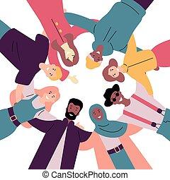 posición, grupo, gente, juntos, diverso, bajo - ángulo,...