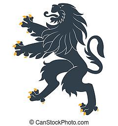 posición, heráldico, león