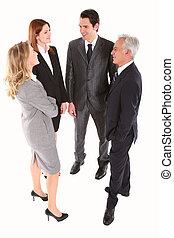 posición, hombre de negocios, charlar, mujer de negocios