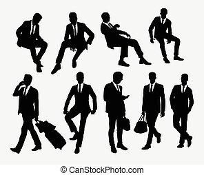 posición, hombre de negocios, si, sentado