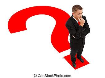 posición, hombre de negocios, signo de interrogación