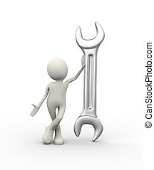 posición, hombre grande, llave inglesa, 3d