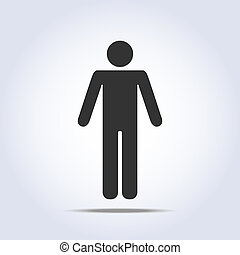 posición, icon., vector, humano, ilustración