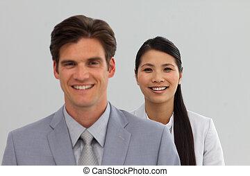 posición, internacional, línea, empresarios