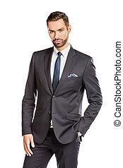 posición, joven, confiado, plano de fondo, hombre de negocios, blanco, guapo