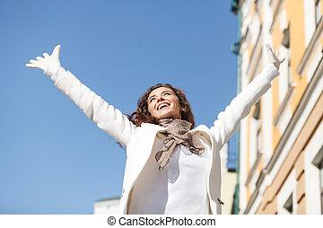 posición, levantado, ángulo, ella, happy., joven, vista,...