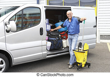 posición, limpiador, furgoneta, luego