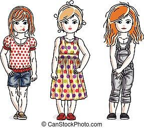 posición, lindo, diferente, niños, diversidad, set., niñas, poco, clothes., niños, vector, ilustraciones, elegante, casual