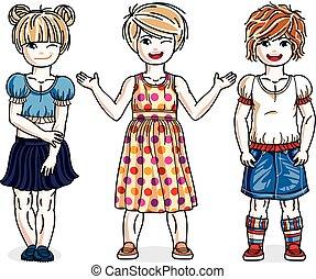 posición, lindo, poco, niños, grupo, familia , llevando, set., niñas, clothes., casual, cartoons., diversidad, vector, ilustraciones, estilo de vida, niñez