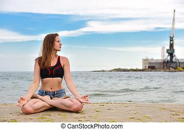 posición lotus, mujer