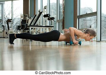 posición, más bajo, flexiones