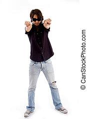 posición, macho, el señalar en, cámara, con, ambos, manos