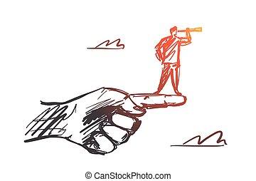 posición, mano, spyglass, dedo, hombre, dibujado