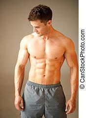 posición, marrón, deportivo, muscular, retrato, hombre