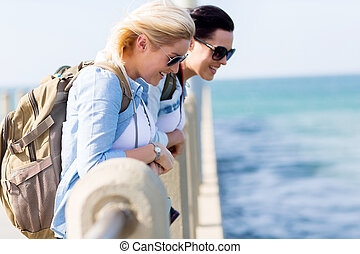 posición, muelle, playa, viajeros
