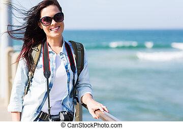 posición, muelle, turista, hembra