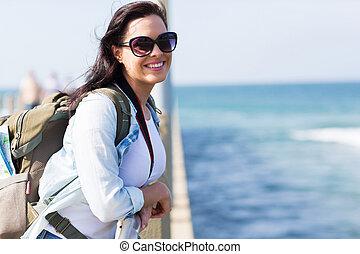 posición, muelle, turista, hembra, joven