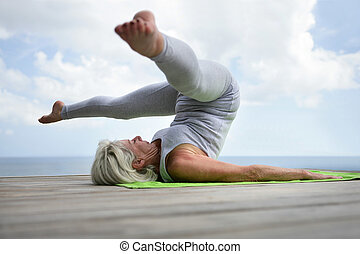 posición, mujer, amaestrado, yoga