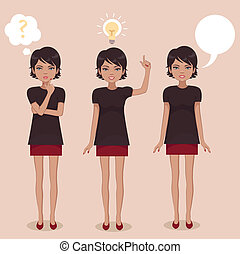 posición, mujer, caricatura