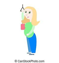 posición, mujer, embarazada, ilustración, vector, transporte público