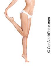 posición, mujer, imagen, arriba, cortado, joven, pies, fondo...