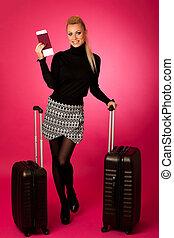 posición, mujer, maletas, travell, vacations., documentos, ...