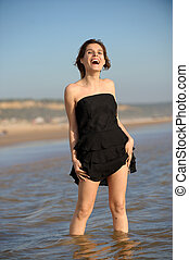 posición, mujer, playa