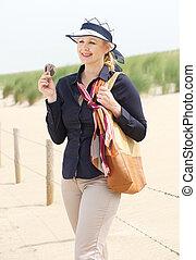 posición, mujer, playa, atractivo, más viejo