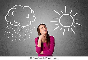 posición, mujer, sol, lluvia, entre, dibujo