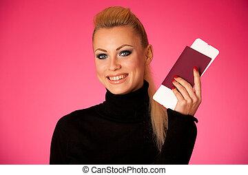 posición, mujer, travell, vacations., documentos, ir, ...