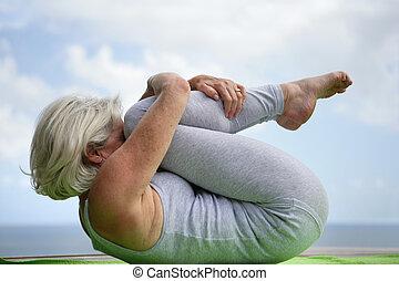 posición, mujer, yoga, tenencia