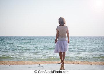 posición, niña, playa