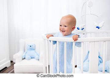 posición, niño, Cama, Guardería infantil, bebé, blanco