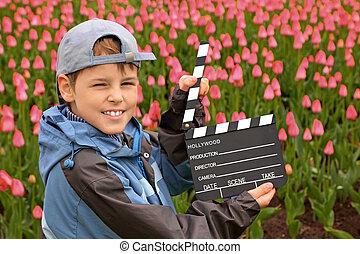 posición, niño, cine, badajo, tulipanes, gorra, chaqueta,...