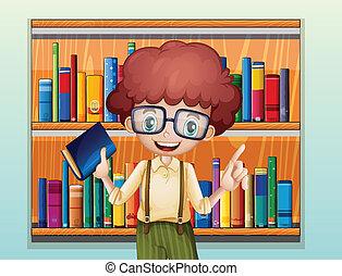 posición, niño, estantería, libro, frente, feliz