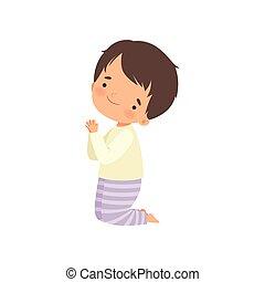 posición, niño, poco, el suyo, rodillas, carácter, ilustración, vector, rezando, caricatura