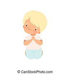 posición, niño, poco, el suyo, rodillas, dulce, carácter, ilustración, vector, rezando, caricatura