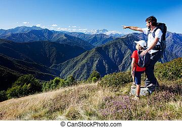 posición, niño, pradera, montaña, joven