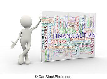posición, palabra, etiquetas, wordcloud, plan, financiero, hombre, 3d