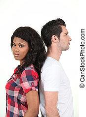 posición, pareja, espalda