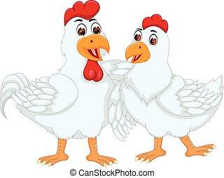 posición, pareja hugging, caricatura, pollo, sonriente,...