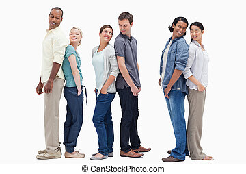 posición, parejas, tres, espalda, mirar, otro, cada