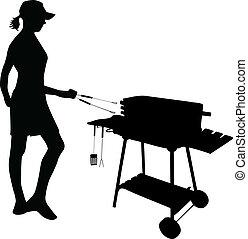 posición, parrilla, mujer, grilling-figure