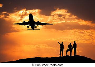 posición, pasajero, gente, Siluetas,  airplan, paisaje