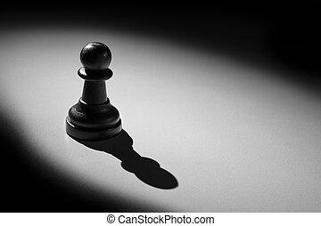 posición, peón, marca, ajedrez, sombra, proyector