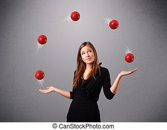 posición, pelotas, joven, malabarismo, niña, rojo